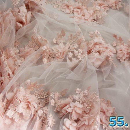 3D alkalmi virágos csipke (tüll alapon 3d virágok) 100% poliészter szélesség: 145cm