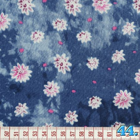 Puplin batikolt virágmintás, 100% viszkóz, szélesség: 140cm