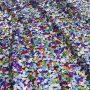 Alkalmi anyag flitteres hologram multicolor 100% poliészter, szélessége: 130 cm