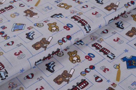 Gyerekmintás vászon, szélesség: 140cm, 100% pamut - macis
