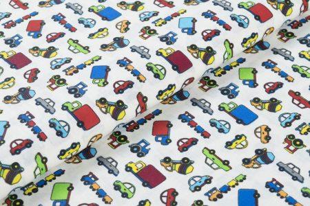 Gyerekmintás vászon, szélesség: 140cm, 100% pamut - kisautók