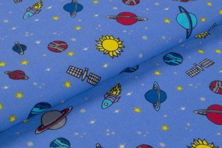 Gyerekmintás vászon, szélesség: 140cm, 100% pamut - ŰRHAJÓS