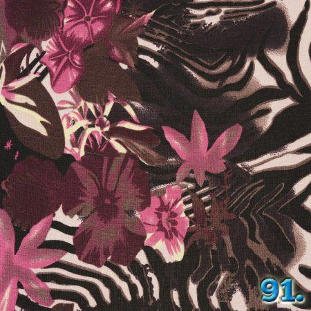 Bordűrős kötött virágmintás anyag, 97% poliészter 3% elasztán (spandex) szélesség:150cm