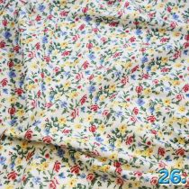 Pamutvászon virágmintás voil,(fehér alapon kis színes rózsák), 100%pamut szélesség:150cm