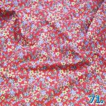 Pamutvászon virágmintás voil, (piros alapon apró virágmintás), 100%pamut szélesség:150cm